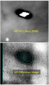 Part of Figure 1 from Follette et al. (2013), comparing the Hubble (HST) image (top) to their image (bottom) of the protoplanetary disk.