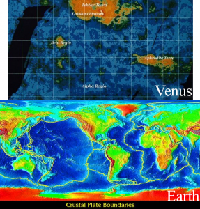 Comparison of Venus' and Earth's topography. For Venus, orange represents the topographic highs, blue the lows. For the Earth, red represents the highs and blue the lows.