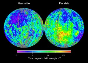 Total magnetic field strength at the surface of the Moon as derived from the Lunar Prospector electron reflectometer experiment. From http://en.wikipedia.org/wiki/File:Moon_ER_magnetic_field.jpg.