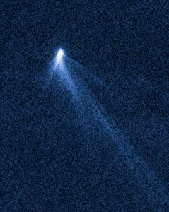 P/2013 P5 as seen by Hubble on September 10, 2013. P/2013 P5 is about 790 feet (240 m) in diameter. It has six comet-like tails of dust radiating from it like spokes on a wheel. From http://www.sci-news.com/space/science-p2013p5-hubble-asteroid-six-tails-01530.html.