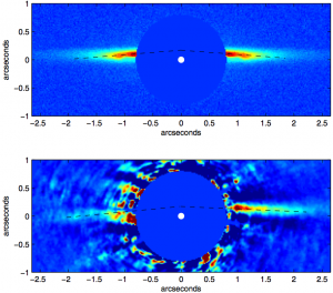 Model (top) and observed (bottom) infrared images of the debris disk around HD 15115. From Rodigas+ (2012).