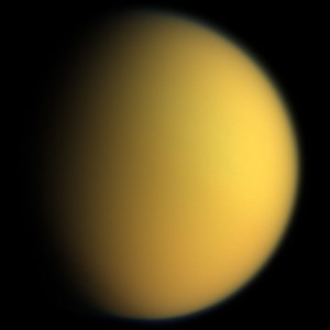 This natural color composite was taken during the Cassini spacecraft's April 16, 2005, flyby of Titan. From http://en.wikipedia.org/wiki/Titan_%28moon%29.
