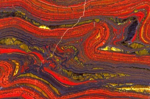 Banded iron formation with tiger-eye, Mount Brockman, Australia. From http://www.pbase.com/image/94666060.