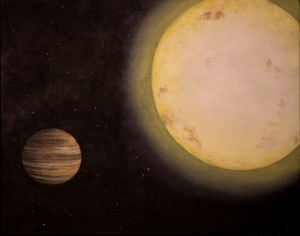 Artist's illustration of KELT-6b, a Saturn-like alien planet announced in June 2013. From http://www.space.com/21431-saturn-like-alien-planet.html.