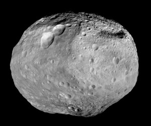 A mosaic from the Dawn mission of the asteroid Vesta.