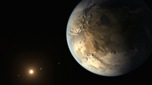Artist's conception of a habitable exoplanet in orbit around its red dwarf star. Credit: NASA Ames/SETI Institute/JPL-Caltech. From http://themeridianijournal.com/2014/04/big-discovery-first-earth-sized-exoplanet-habitable-zone-another-star/#more-5509.