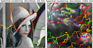 (Left) Result from the spectral clustering example code on the scikit-learn page. (Right) My own attempt at segmenting a VIMS image of Titan.