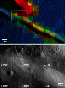 Rock concentration values near Rima Bode (356.1°E, 12.9°N) superposed on a high-res LROC image. The white box denotes the area shown in the bottom image. (bottom) A portion of LROC image. Each square in the image covers a separate Diviner bin with the derived rock concentration value listed.