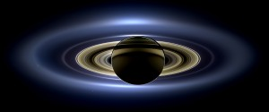"""The full set of rings, imaged as Saturn eclipsed the Sun from the vantage of the Cassini spacecraft. Earth is visible as a """"pale blue dot"""" at about the 4 o'clock position. From http://en.wikipedia.org/wiki/Rings_of_Saturn."""