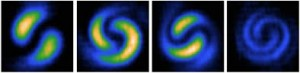 The density of Bose-Einstein condensates, exhibiting interference of their quantum mechanical wave functions. From https://sites.google.com/site/bigelowcatgroup/bec.