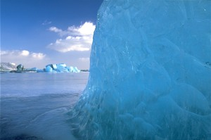 Blue glacial ice. From http://upload.wikimedia.org/wikipedia/commons/1/10/JoekullsarlonBlueBlockOfIce.jpg.