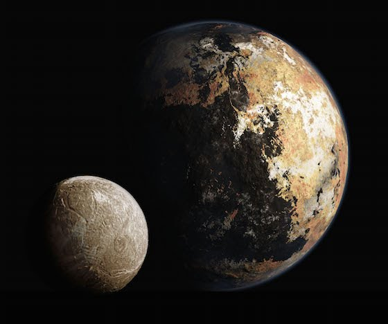 Artist's conception of Pluto's and Charon's surfaces. From http://www.ourpluto.org/home.