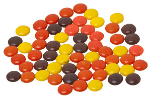 From http://en.wikipedia.org/wiki/Reese%27s_Pieces#/media/File:Reeses-pieces-loose.JPG.