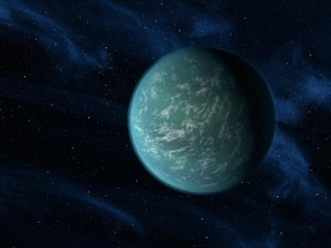"Artist's impression of Kepler-22b as an oceanic ""super-Earth"" within its star's habitable zone. From http://en.wikipedia.org/wiki/List_of_potentially_habitable_exoplanets."