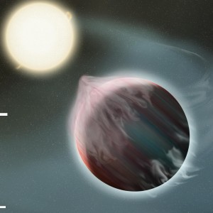 Artist's conception of a hot Jupiter shedding mass.