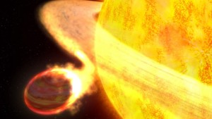 A hot Jupiter being ingested by its host star. From http://sen.com/thumbs/1024x576/img/47b3082d767346e8bebdb5ad99f8f33d.jpg.