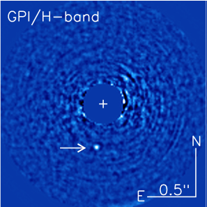 Image of 51 Eri b (indicated by arrow) in the near-infrared, 1.65 microns.