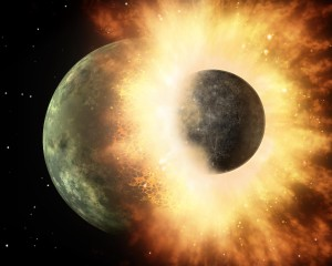 Artist's depiction of a collision between two planetary bodies. From https://en.wikipedia.org/wiki/Giant_impact_hypothesis.