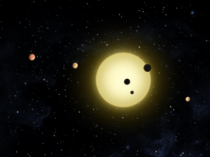 The Kepler-11 planetary system, with at least 6 planets in short orbits. From https://en.wikipedia.org/wiki/Kepler-11.
