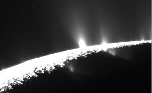 The geysers near Enceladus' south pole. From https://en.wikipedia.org/wiki/Enceladus#/media/File:PIA19061-SaturnMoonEnceladus-CurtainNotDiscrete-Eruptions-20150506.jpg.