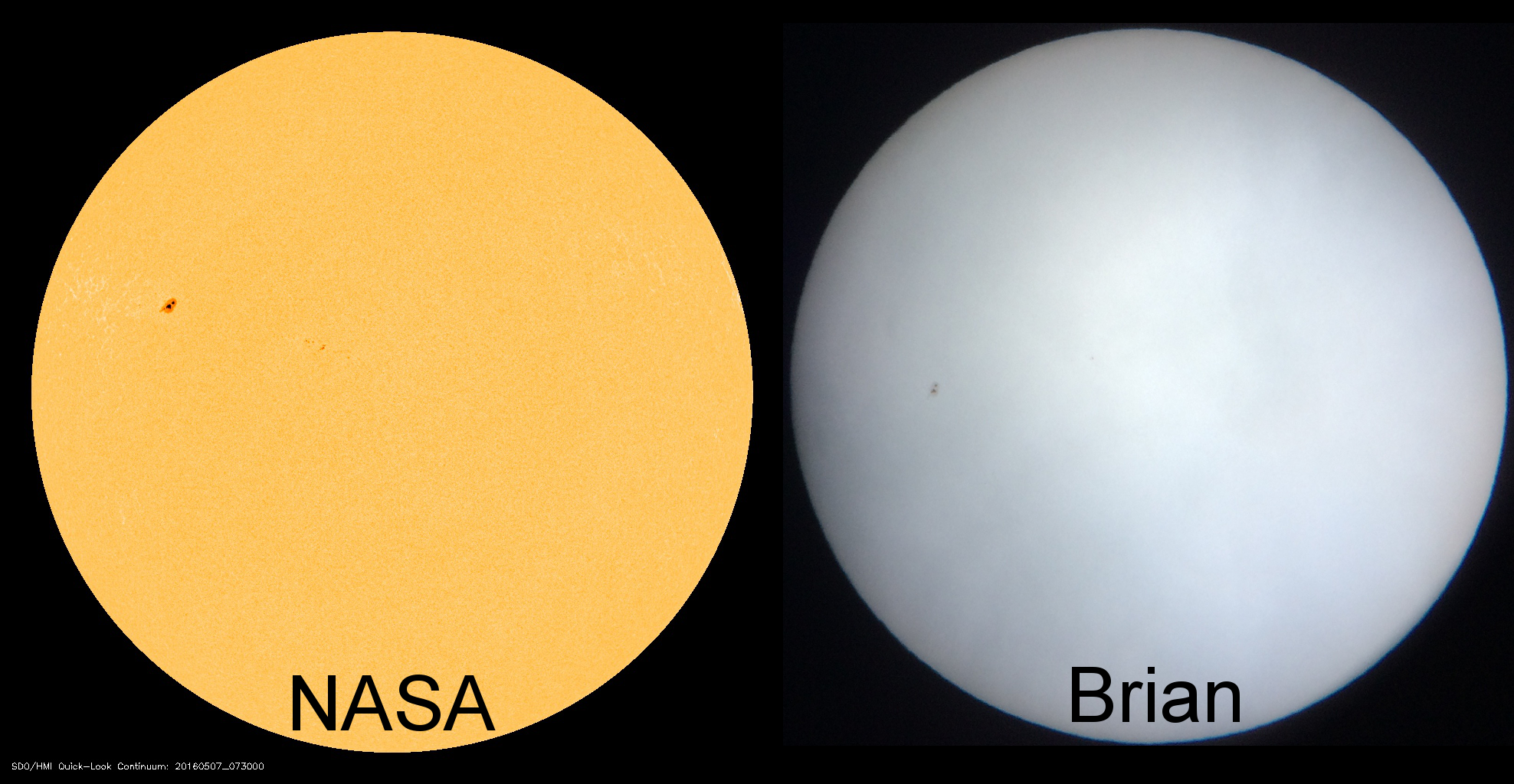 Comparing NASA's view of the Sun from space to the view from my front yard.