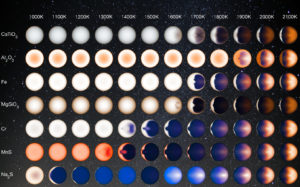 What hot Jupiters might look like for a range of atmospheric temperatures. From http://www.jpl.nasa.gov/spaceimages/details.php?id=PIA21074.